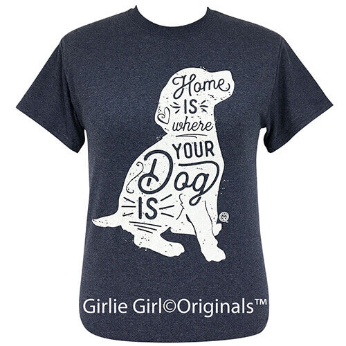 Girlie Girl Originals Tees Where Your Dog Is Heather Navy Short Sleeve T-Shirt
