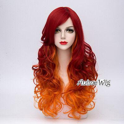Punk 65CM Long Red Mixed Orange Curly Hair Women Lolita Cosplay Wig + Wig Cap