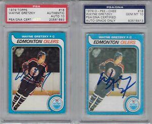 PSA 10 #18 Wayne Gretzky 1979 O-Pee-Chee OPC & 1979 Topps RC AUTOGRAPHS PSA/DNA
