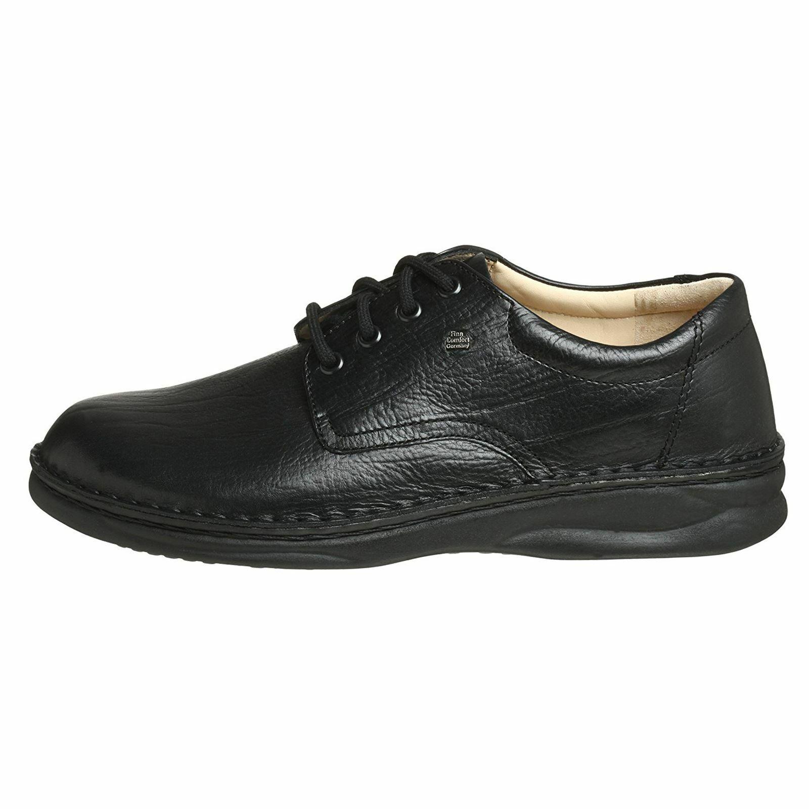 Finn Comfort Mens Metz noir Leather chaussures