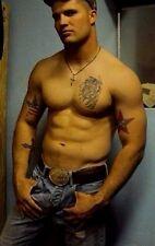 Shirtless Male Muscular Tattooed Beefcake Cowboy Hunk PHOTO 4X6 D174