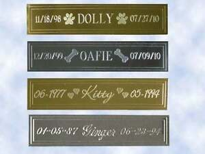 """Engraved Brass Name Plate Pet Memorial - 5/8""""H x 2-5/8""""L - Choice of Designs"""