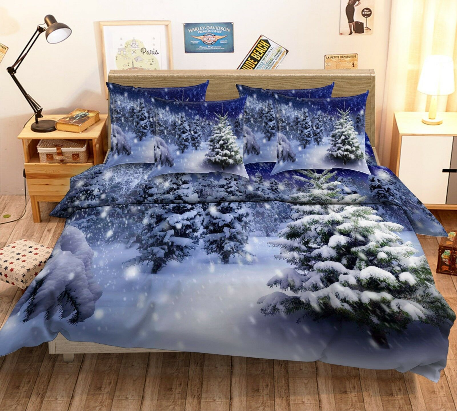 3D Snow Forest Scenery 43 Bed Pillowcases Quilt Duvet Cover Set Single Queen US