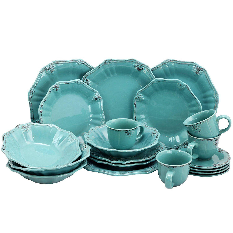 ELAMA FLEUR de LYS 20-Pièce Stoneware Dinnerware Set Turquoise Service pour 4