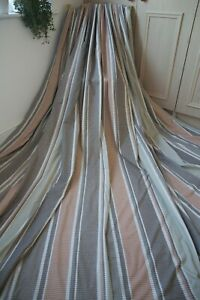 NEXT-STRIPED-COTTON-CURTAINS-53WX54D-BLACKOUT-WHITE-PINK-BROWN-OLIVE-RING-1OF2