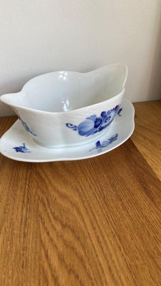 Porcelæn, Blå blomst sovseskål / sausebåd, Royal