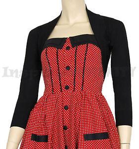 RoCkaBiLLy-Black-Short-Sleeve-Cropped-Cardi-Shrug-Retro-50s-Cardigan-Bolero