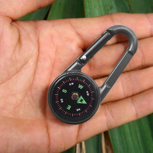 Boussole Thermomètre Extérieur Randonnée Tactique Survie Mousqueton Porte-clés UK Noir