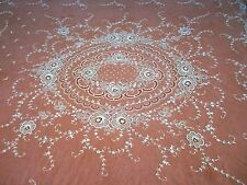 """Antique Tambour Embroidered French Net Lace Coverlet 100"""" x 80"""""""