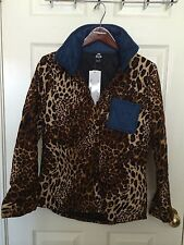 DCC Thick Quilted Animal Print Leopard Winter Shirt Denim Small S NWT