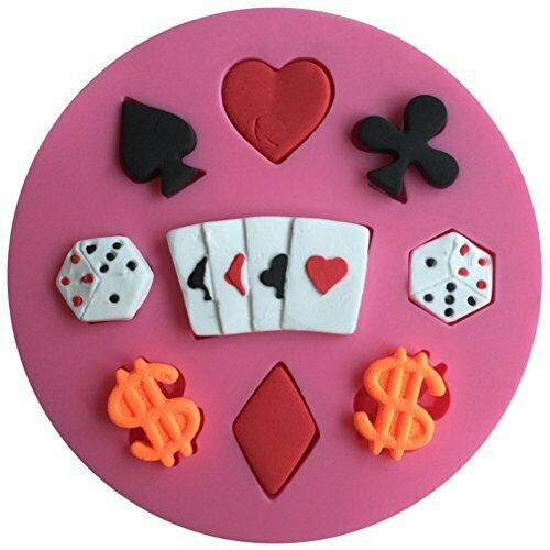 FLY Poker And Dollar 3D Silicone Fondant Cake Mold For Cake Decora Baking Mould
