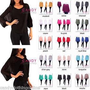 Ladies-Women-Stretch-Baggy-Batwing-Chiffon-Top-Vest-Bikini-Long-Tunic-Blouse-she