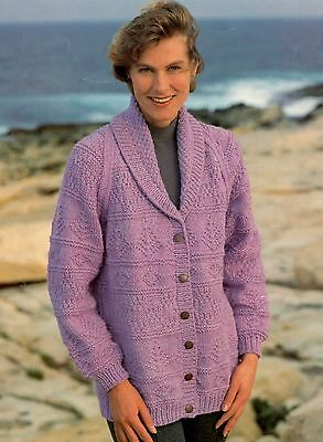 """42/"""" Easy Knitting Pattern Ladies Chunky Cable Jacket Collar Pocket 32/"""""""