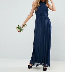 74848a78728 Women s Navy Chiffon Twist Front Ruched Maxi Dress UK 12 RRP £45