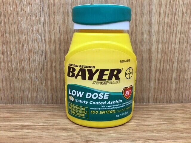 Bayer Low Dose Aspirin 81mg - 300 Enteric Coated Tablets 300ct Exp JUN 2020