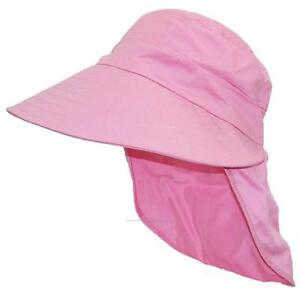 Women-039-s-Floppy-Wide-Brim-Summer-Hat-W-Neck-Flap-Bonnet-Bucket-1009-Pink