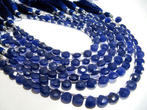 Blue Sapphire Corundum Heart Shape Faceted  briolette Beads 7-8mm Strand 8inch