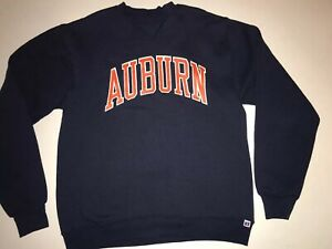 pretty nice 0a622 742fb Details about 🦅 Vintage Auburn Tigers Football Sweatshirt Blue Orange War  Eagles M Russell 🦅