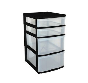 Attractive Image Is Loading Large BLACK 4 High Plastic Drawers Storage Unit