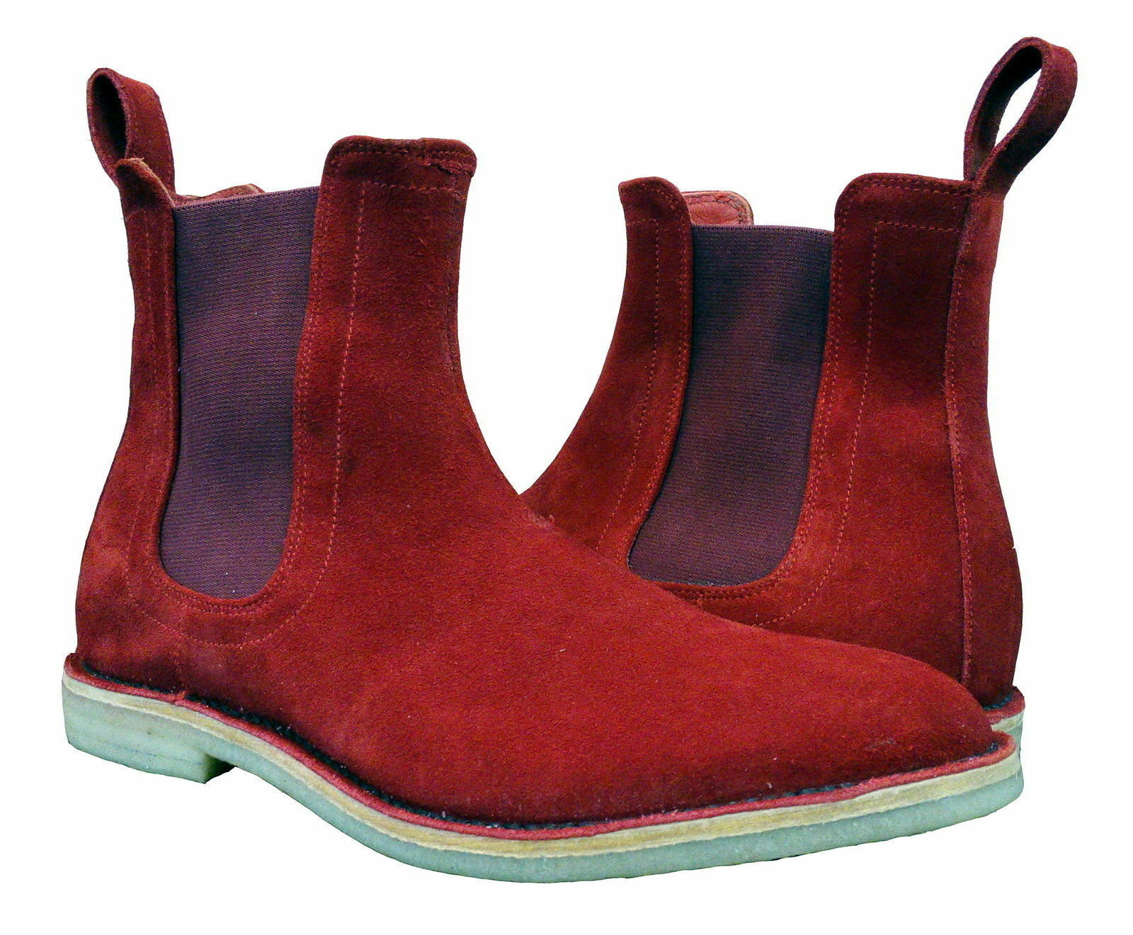 Mens Handmade Boots Chelsea Red color Crepe Sole Suede Leather Formal Wear shoes