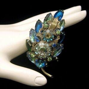 Blue-Green-Margarita-Fruit-Salad-Rhinestones-Brooch-Pin-Vintage-Glass-Marquise