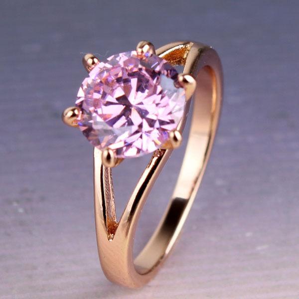 Unique 18k gold filled pink Swarovski Crystal royal Engagement ring Sz5-9/J-R