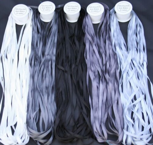 NEW 50M 4MM PURE SILK EMBROIDERY RIBBONS BLK WHT GREYS