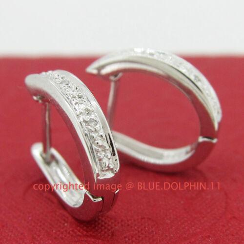 Genuine Natural Diamond Fine Silver Hoop Drop Huggies Earrings White Gold Finish
