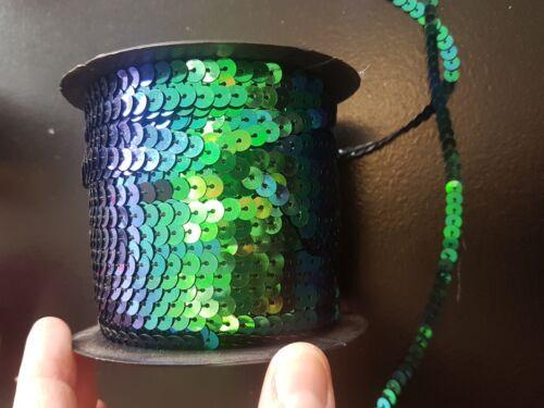 Sew en cadena con lentejuelas 6mm Negro AB Adorno de Lentejuelas Costura recorte