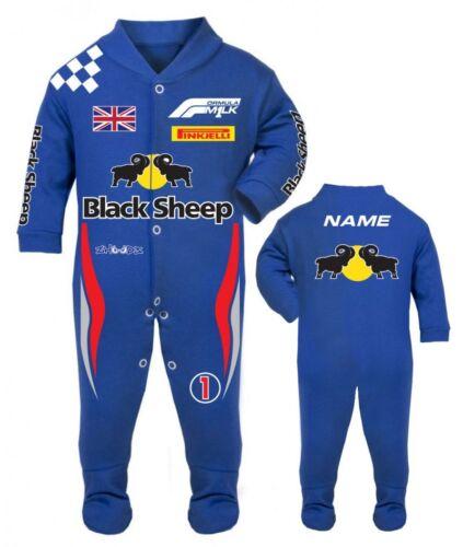 Car racing baby grow babygrow Black Sheep blue baby race romper suit made in UK
