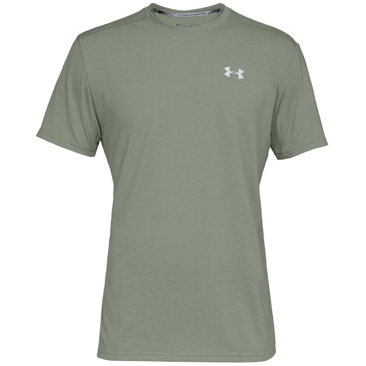 Under Armour Threadborne Streaker Maniche Corte Shirt Verde Riflettente