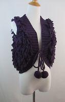 W Tag Purple Peppe Peluso Womens Wool Blend Pom Pom Knit Vest Sweater Sz S