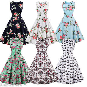 Womens-50s-Swing-Vintage-Retro-Pinup-Rockabilly-Evening-Party-Dress-Plus