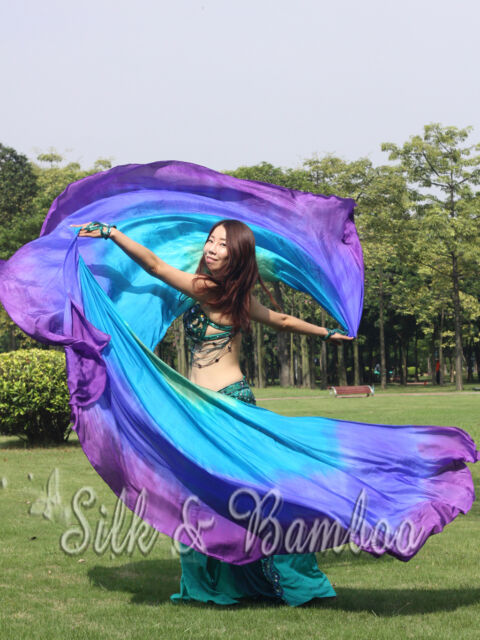 """2.7m*1.1m(3yd*45"""") 8mm green-turquoise-blue-purple belly dance silk double veils"""