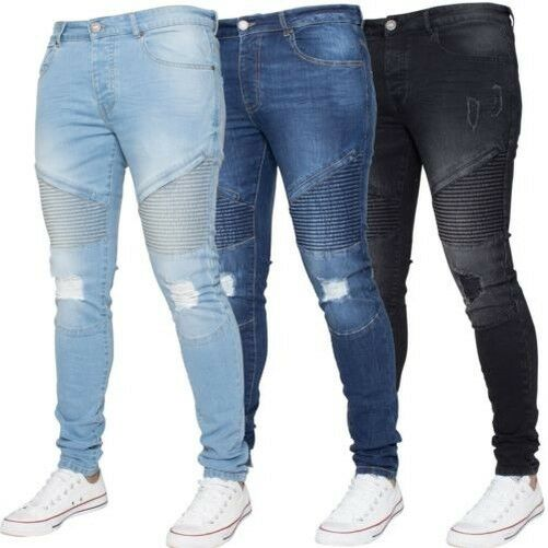 Enzo Hommes Dechire Motard Jeans Super Skinny Slim Extensible Fit
