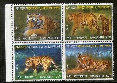 Asia Romantic Bangladesh 2013 Save Tiger Protect Mother Sunderban Wildlife Animals Mnh # 5166 Bright Luster Stamps