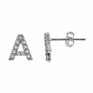 Image Is Loading 925 Sterling Silver Clic Cz Studded Initial Earrings