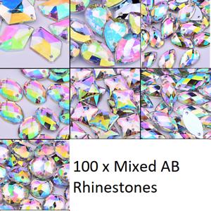 Grade-A-100-x-Sew-On-Stitch-clear-AB-mixed-shape-GEM-CRYSTAL-RHINESTONE-TRIM-11