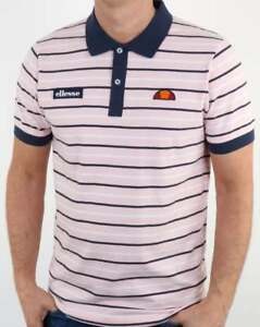 a0d9af6c464 Ellesse Kadera Striped Polo Shirt in Pink   Navy short sleeve retro ...