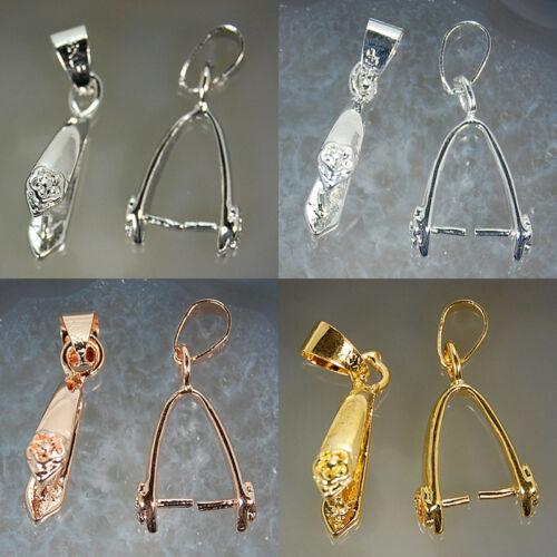 Silver,Gold,WGP etc Metal Copper Pendant Pinch Bails
