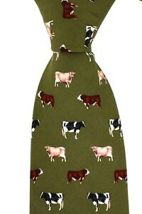 Soprano-luxury-green-silk-tie-with-cattle-Friesan-Jersey-Hereford-farming-cow