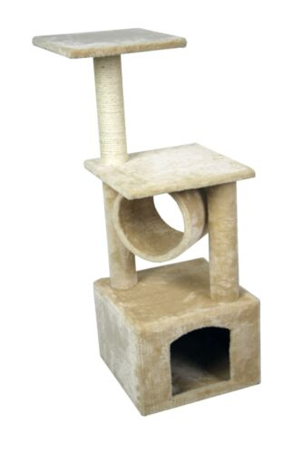 "36"" Cat Kitty Tree Play House Home Condo Furniture Scratcher Bed Post Beige"