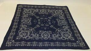Vtg-Indigo-Blue-Batik-Soft-Cotton-Fast-Color-Biker-Handkerchief-Bandana