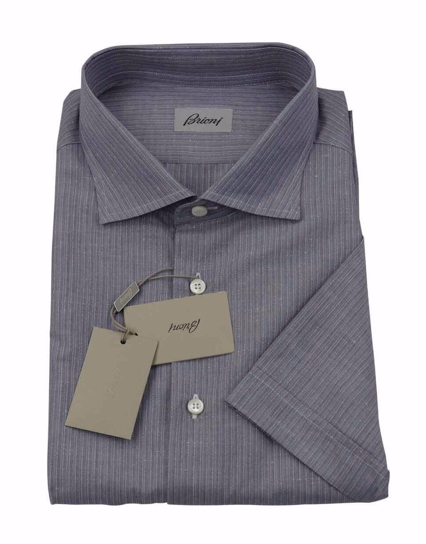 22300917c7 Brioni Uomo H S Grigio Scuro Righe Lino Artigianale Camicia Camicia ...