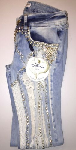DISHE Handmade Damenjeans Jeans Hose Damenhose Hüftjeans Röhrenjeans 34-40 #D5