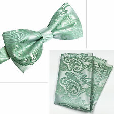 20AA Pastel Mint Green Paisley Pre-tied Bow tie and Pocket Square Hanky Set