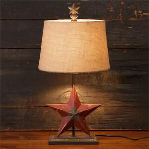 new primitive country rustic barn star lamp burlap shade. Black Bedroom Furniture Sets. Home Design Ideas
