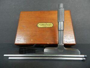 VINTAGE-LUFKIN-0-034-to-3-034-No-513-MICROMETER-DEPTH-GAGE-001-034-GRADS-3-RODS-amp-TOOL-amp-BOX