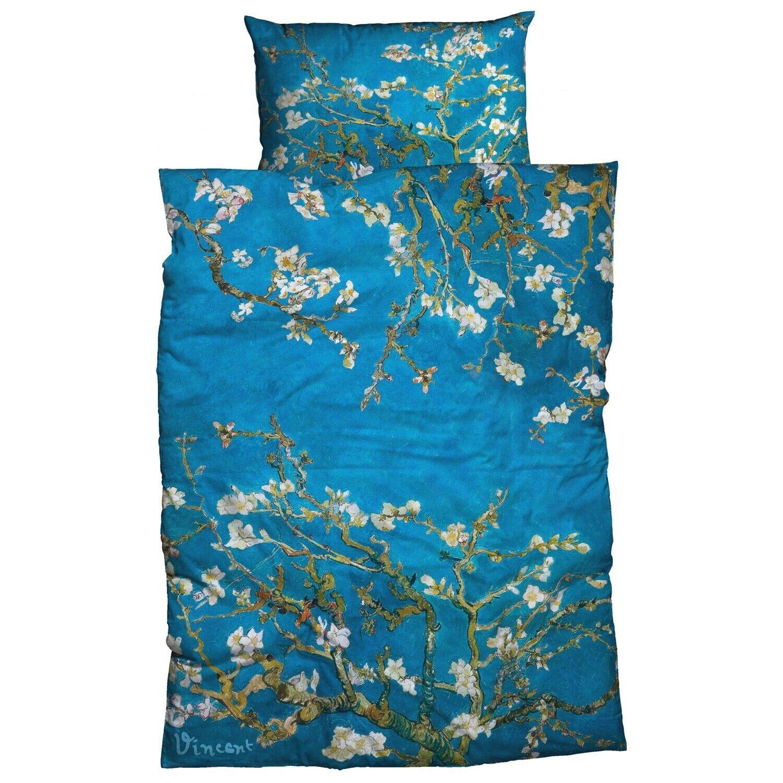 Goebel Bettwäsche Mandelbaum Blau Vincent Van Gogh Gemälde Kunstwerk Baum Satin