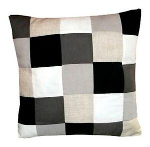 coussin damier noir et blanc HOUSSE DE COUSSIN DAMIER TONS GRIS, NOIR ET BLANC 40cmx40cm | eBay coussin damier noir et blanc